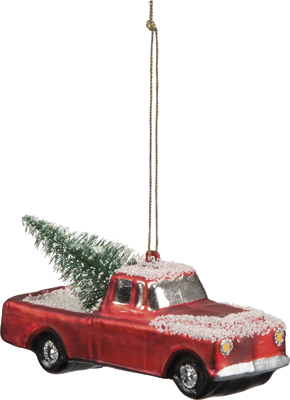"""Christmas Ornament - """" Red Truck With A Tree Ornament"""""""
