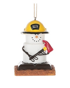 "Christmas Ornament - "" S'mores Fireman Ornament"""