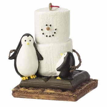 "Christmas Ornament  - ""S'mores with Penguins Ornament"""