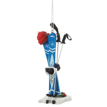 "Christmas Ornament - ""Ski Poles With Goggles Ornament"""