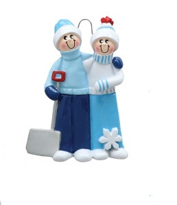"Christmas Ornament - ""Snow Shovel Couple Ornament"" - 2"