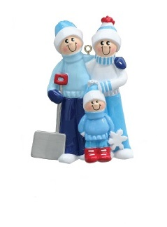 "Christmas Ornament - ""Snow Shovel Family Ornament"" - 3"