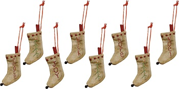 "Christmas Ornament - ""Stitched Stocking Ornaments"" - Set of 8"