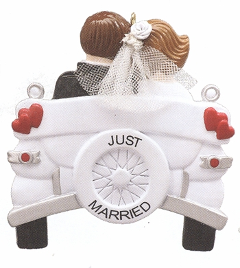 "Christmas Ornament   - ""Wedding Car....Just Married Ornament"""