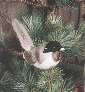 Christmas Ornament - Black and Grey Chickadee Clip - 3.5 Inch