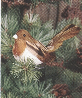 Christmas Ornament - Brown and Tan Chickadee Clip - 3.5 Inch