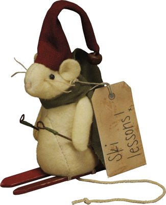 "Christmas Ornaments - ""Skiing Mouse Ornament"""