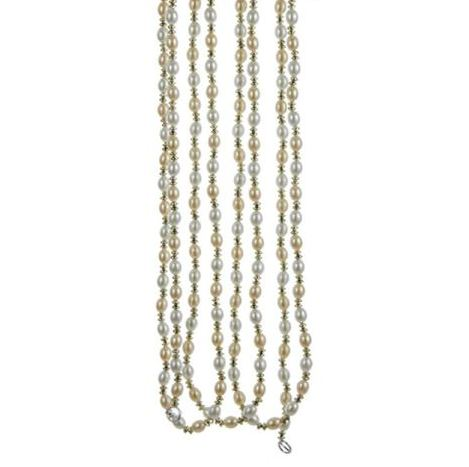 "Christmas Tree Garland - ""Ivory & Gold Beaded"" - 9ft"