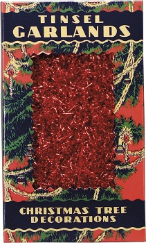 "Christmas Tree Garland - ""Red Tinsel Garland"" - 9 ft"