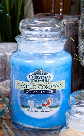 "Christmas Tree Hill Fragranced Candle - 22 oz. Jar - ""Ocean Breeze"""