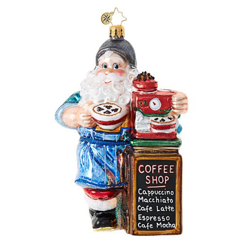 "Christopher Radko Glass Ornament - ""Barista Nick"""