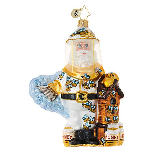 "Christopher Radko Glass Ornament - ""Bee Calm, Santa!"""