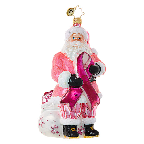 Christopher Radko Glass Ornament � Breast Cander Santa - Charity