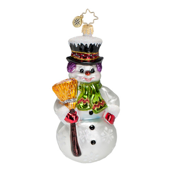 "Christopher Radko Glass Ornament  - Brilliant Treasures Collection  - ""Snowman Sweep Ornament"""