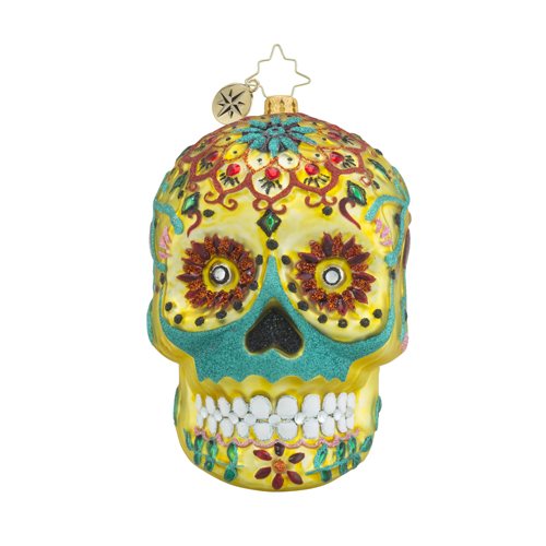"Christopher Radko Glass Ornament - ""Calavera De Oro"""