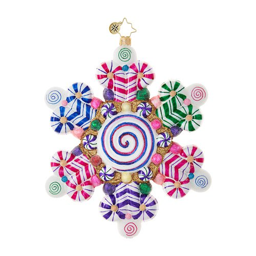 "Christopher Radko Glass Ornament - ""Candy Shop Snowflake"""
