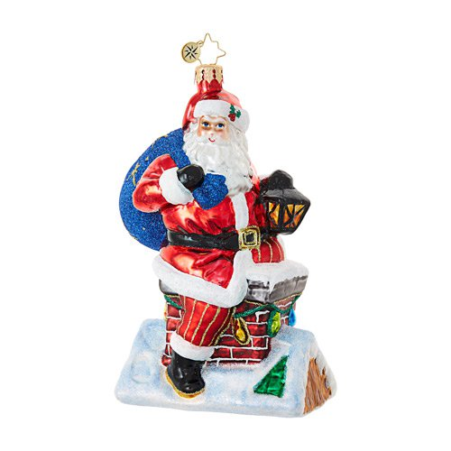 "Christopher Radko Glass Ornament - ""Chimney Climber Santa"""