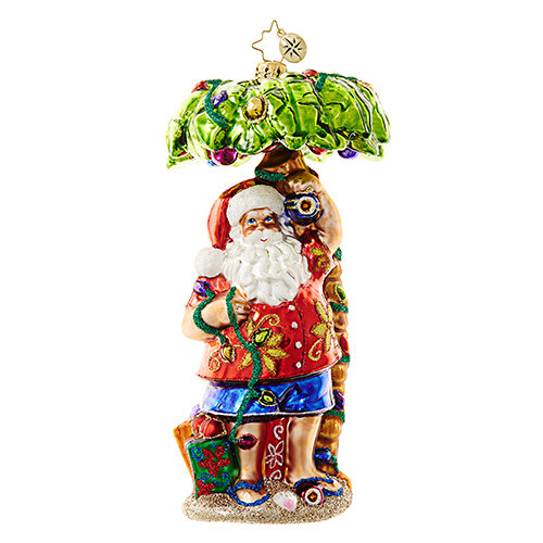 "Christopher Radko Glass Ornament - ""Claus in Paradise"""