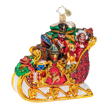 "Christopher Radko Glass Ornament  - ""Dashing Thru The Snow Ornament"""