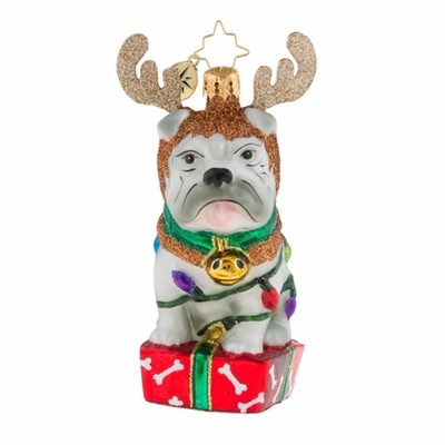 Christopher Radko Glass Ornament - Deer Little Bull Dog 2018