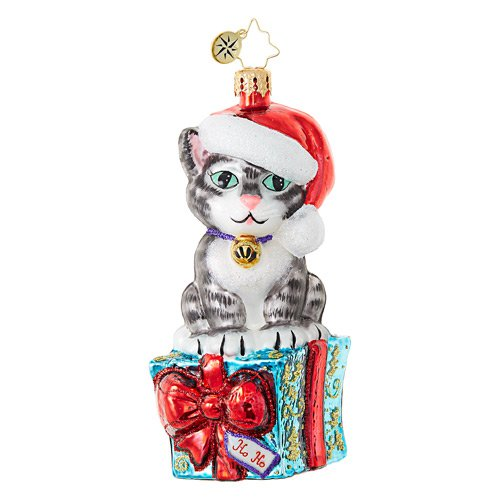 "Christopher Radko Glass Ornament - ""Fabulous Feline Flair"""