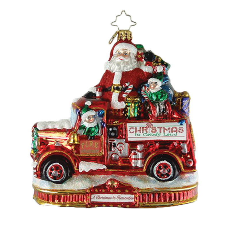 Christopher Radko Glass Ornament - Festive Fire Truck Fun 2018