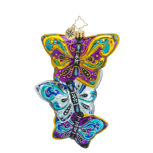 "Christopher Radko Glass Ornament - ""Fluttering Elegance"""