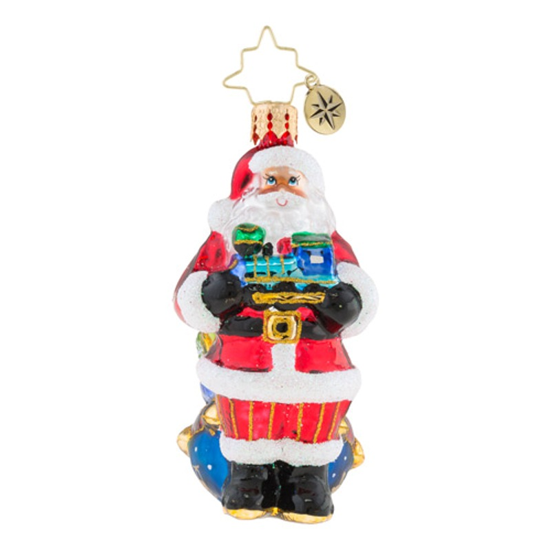 Christopher Radko Glass Ornament Gem - Choo Choo Santa 2018
