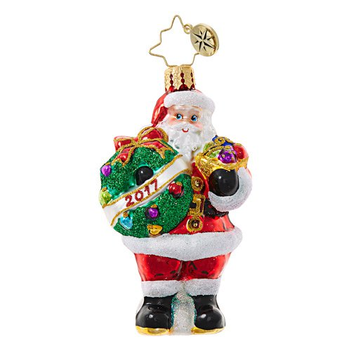 Christopher Radko Glass Ornament Gem - Holly Jolly Year 2017