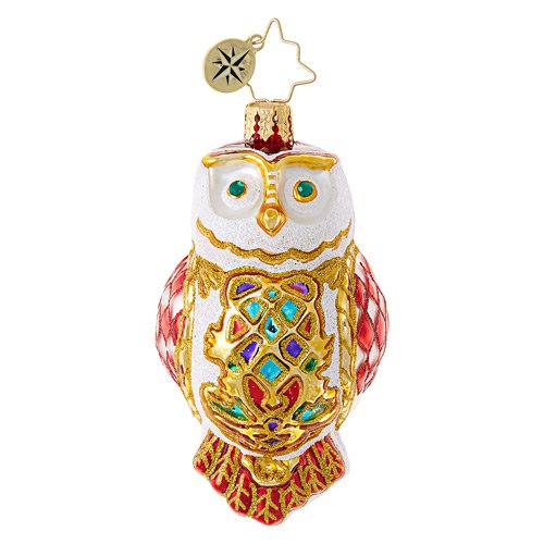 Christopher Radko Glass Ornament Gem - Owl Fly Away