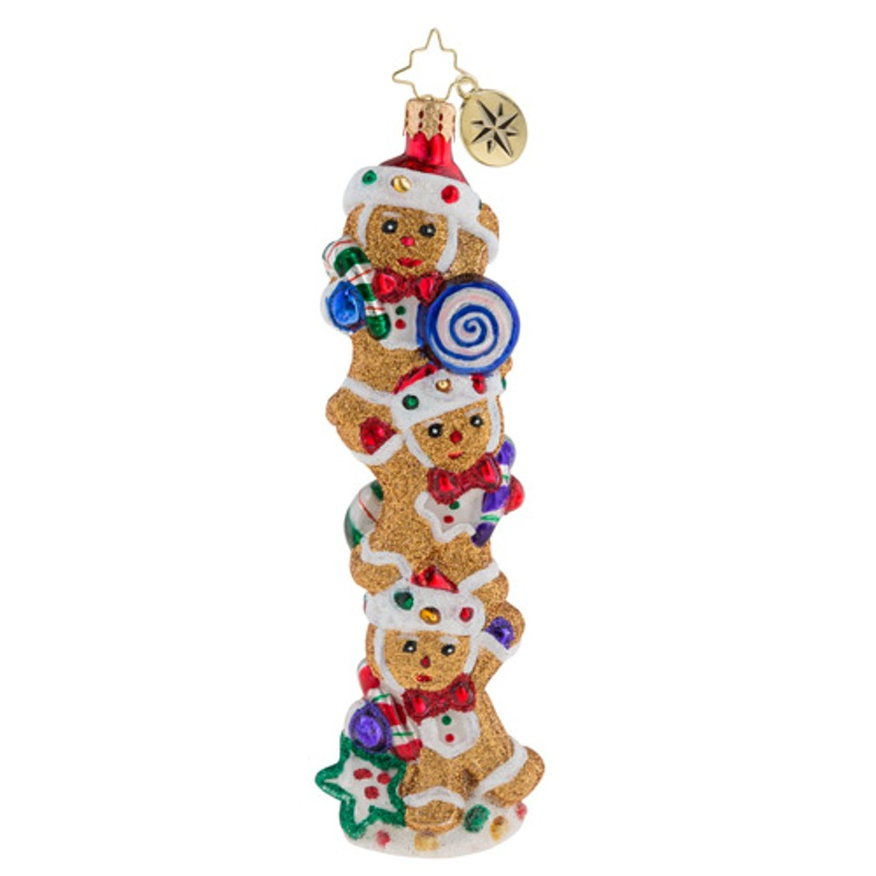 Christopher Radko Glass Ornament - Gingerbread Balancing Act 2018