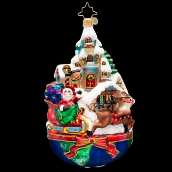 "Christopher Radko Glass Ornament - ""Global Sleighride Ornament"""