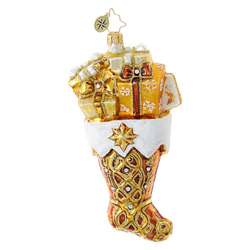 "Christopher Radko Glass Ornament - ""Golden Gift Stocking"""
