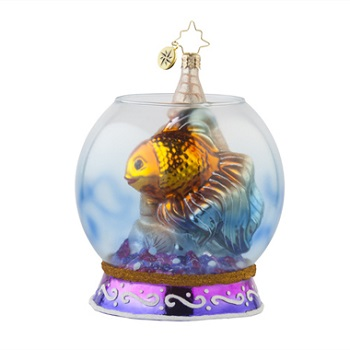 "Christopher Radko Glass Ornament - ""Goldfish Hideaway"""