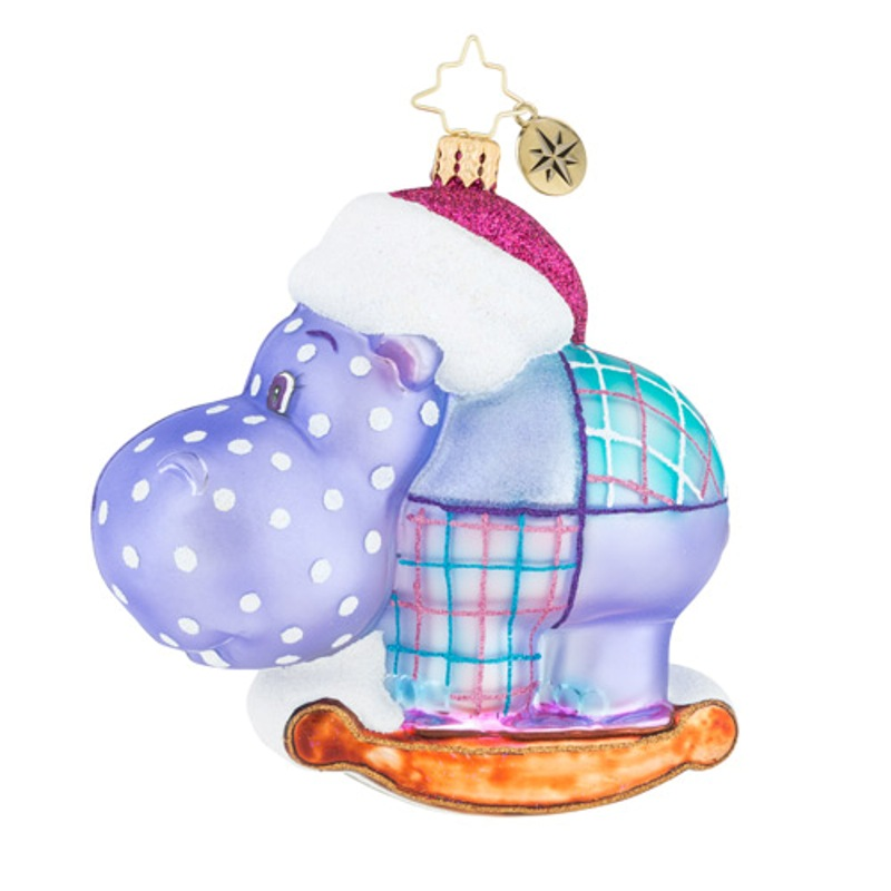 Christopher Radko Glass Ornament - Happy Holiday Hippo 2018