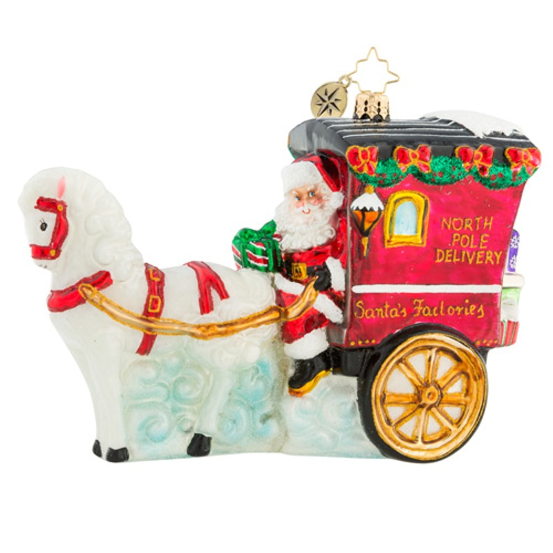 Christopher Radko Glass Ornament - Hold Your Horses Santa 2018