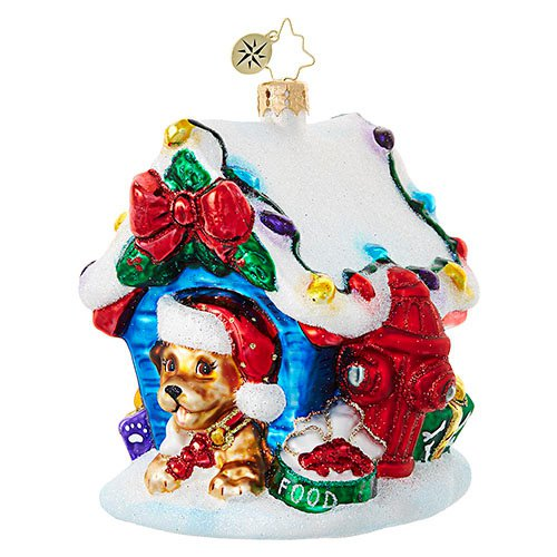 "Christopher Radko Glass Ornament - ""In the Dog House"""