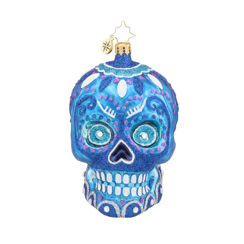 "Christopher Radko Glass Ornament - ""La Calavera"" - Blue"