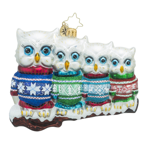 "Christopher Radko Glass Ornament - ""Owl In A Row"""