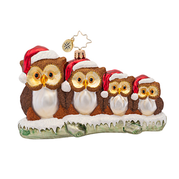 "Christopher Radko Glass Ornament  - ""Owl In The Family Ornament"""