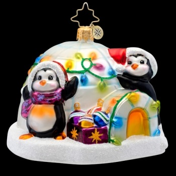 "Christopher Radko Glass Ornament - ""Penguin Prep"""