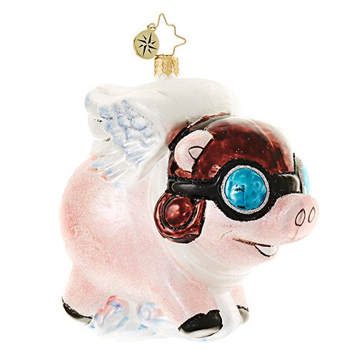 "Christopher Radko Glass Ornament - ""Pigs Are Flying!"""