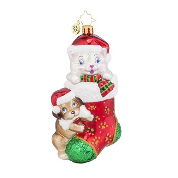 "Christopher Radko Glass Ornament - ""Pip & Paw"""