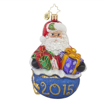 """Christopher Radko Glass Ornament - """"Poppin' Up For Presents - 2015"""""""