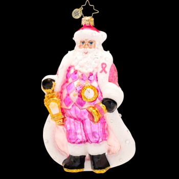 """Christopher Radko Glass Ornament - """"Pretty In Pink"""" -  Breast Cancer Awareness"""