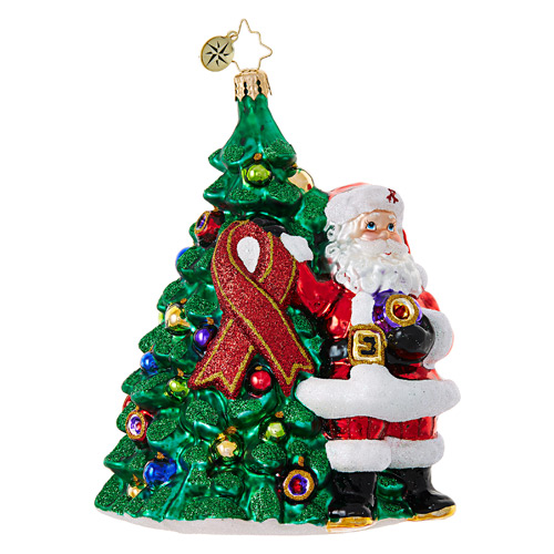 Christopher Radko Glass Ornament � Red Ribbon Claus - Charity