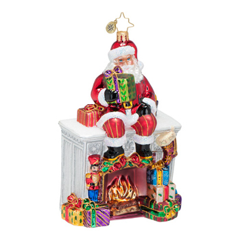 "Christopher Radko Glass Ornament  - ""Santa Mantel Ornament"""