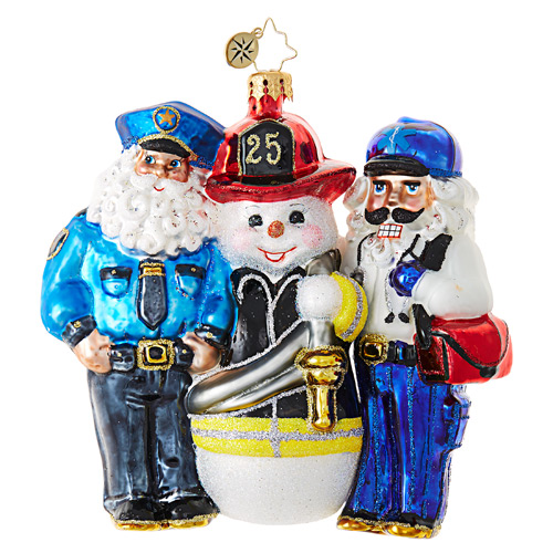 Christopher Radko Glass Ornament � Santa's 1st Responders - Charity