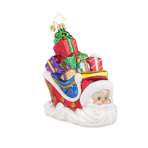 "Christopher Radko Glass Ornament - ""Sleighing Santa"""