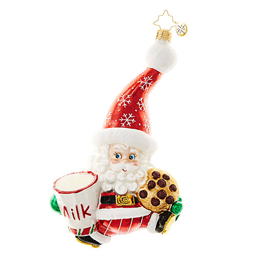 "Christopher Radko Glass Ornament - ""Snack Time Santa"""
